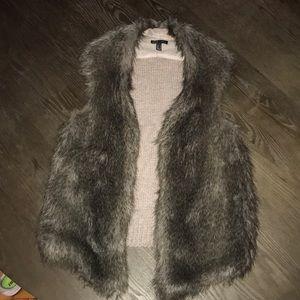 Mango Faux Fur Knit Vest
